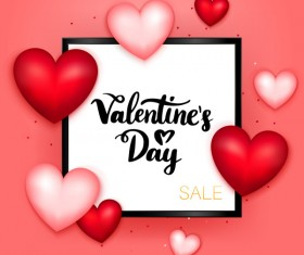 Valentine sale background with black frame vector