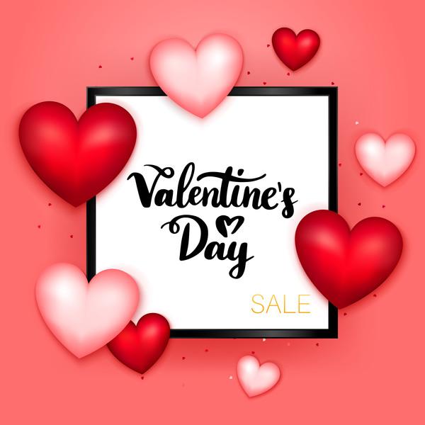 Valentine sale background with black frame vector