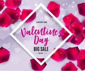Valentine sale with petal background vector