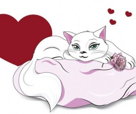 Valentines white cat vector