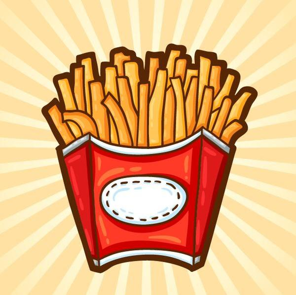 Vector french fries illustration material 03
