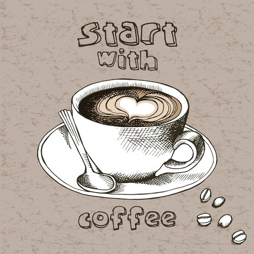 Vintage coffee with start vector