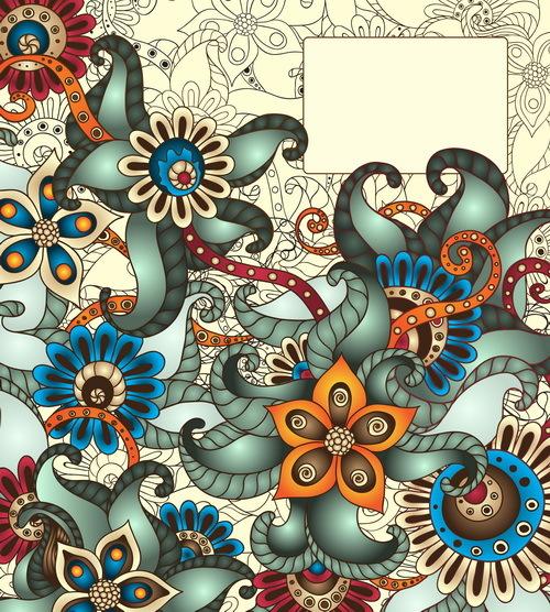 Vintage floral decorative vector background 01