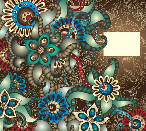 Vintage floral decorative vector background 02