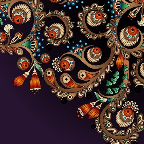Vintage floral decorative vector background 05