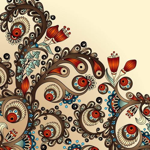 Vintage floral decorative vector background 06