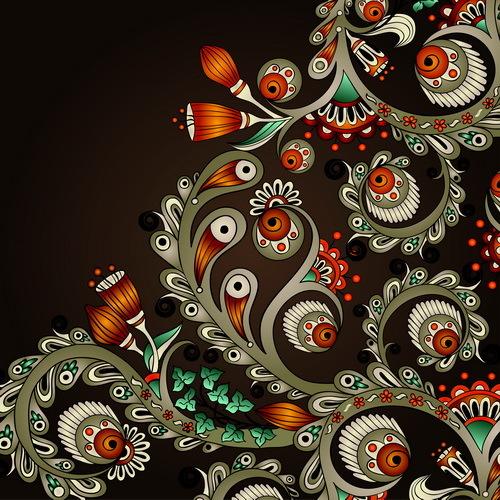Vintage floral decorative vector background 07