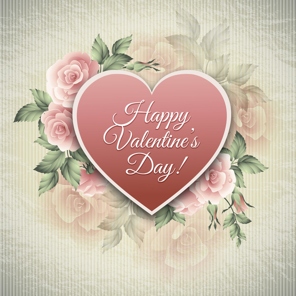 vintage flower valentine card vector material free download