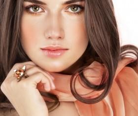 Wearing gem ring Beautiful woman Stock Photo 01