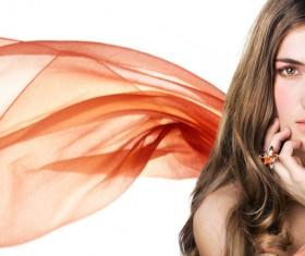 Wearing gem ring Beautiful woman Stock Photo 03