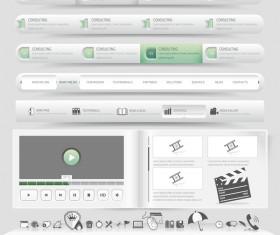 Website navigation menu design vector set 01