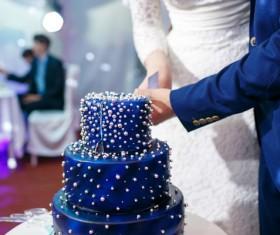 Wedding couple cutting wedding cake Stock Photo