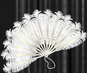 White feather folding fan vector