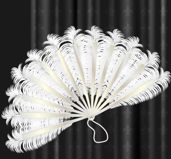 White feather folding fan vector