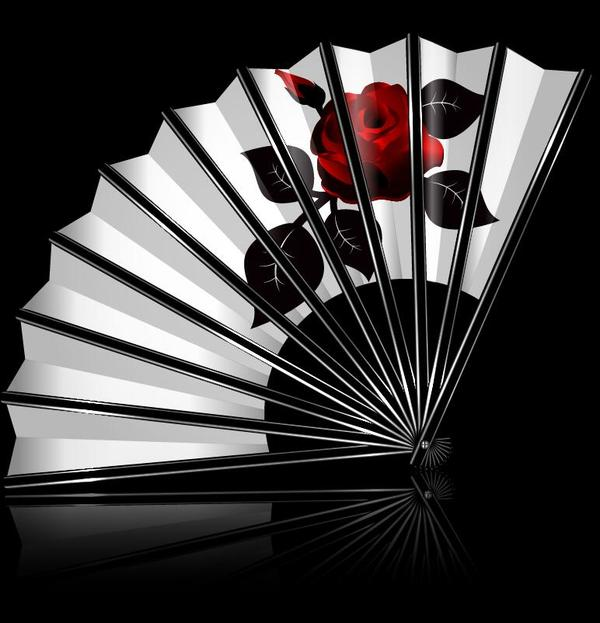 White folding fan with flower vector