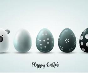 White with black easter egg illustration vector