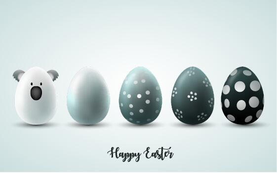 White with black easter egg illustration vector