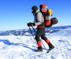 Winter backpackers Stock Photo