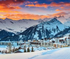 Winter beautiful ski resort Stock Photo