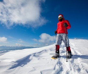 Winter mountaineering man Stock Photo 02