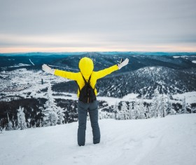 Winter mountaineering man Stock Photo 03