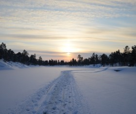 Winter sunrise snow scene Stock Photo