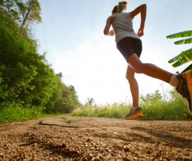 Woman running exercise Stock Photo 02
