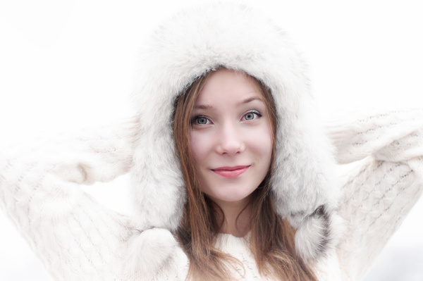 Woman wearing cotton cap Stock Photo 01