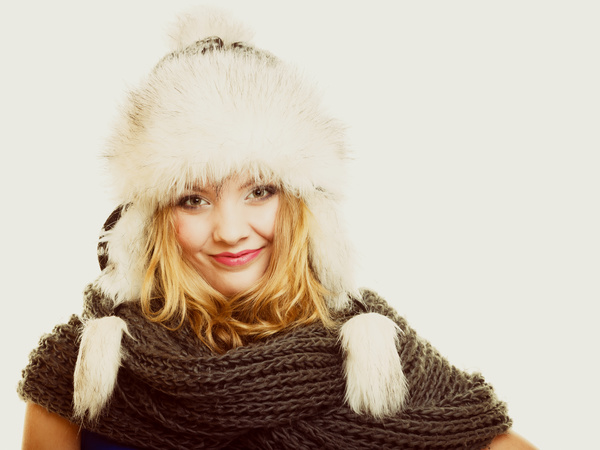 Woman wearing cotton cap Stock Photo 02