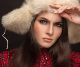 Woman wearing cotton cap Stock Photo 05