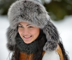 Woman wearing cotton cap outdoors in winter Stock Photo 02