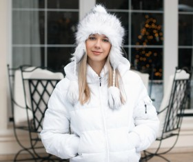 Woman wearing cotton cap outdoors in winter Stock Photo 05
