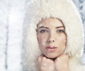 Woman wearing cotton cap outdoors in winter Stock Photo 08