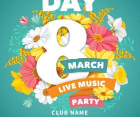 Womens day party flyer template vector material 01