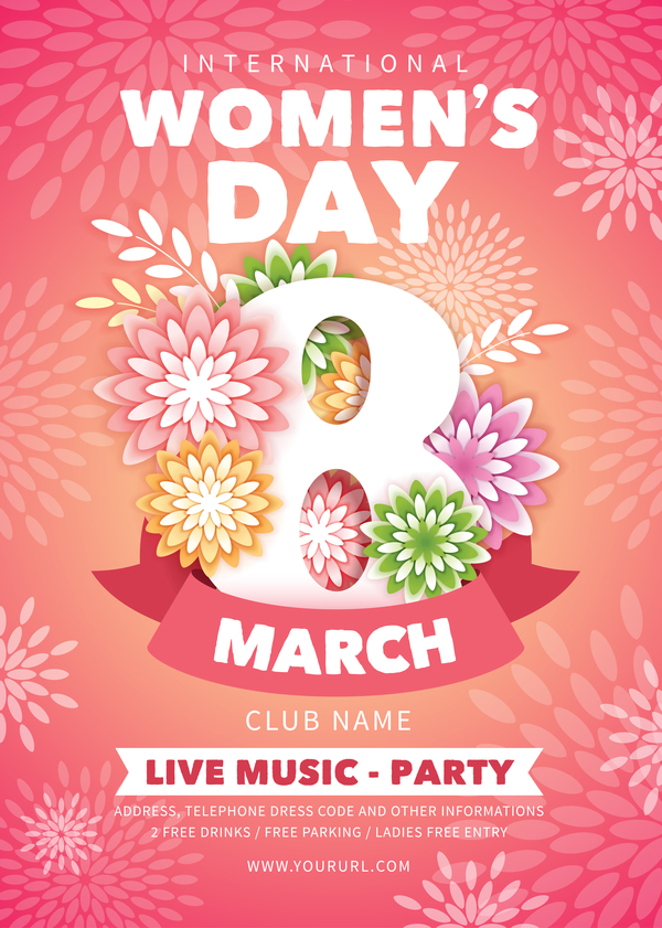 womens day party flyer template vector material 02