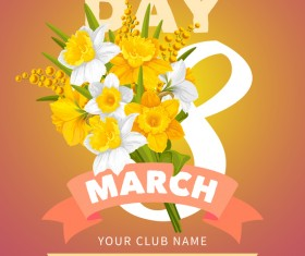 Womens day party flyer template vector material 03