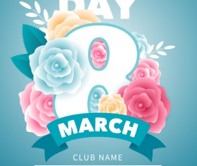 Womens day party flyer template vector material 06