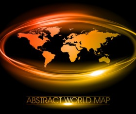 World map with golden light frame vector