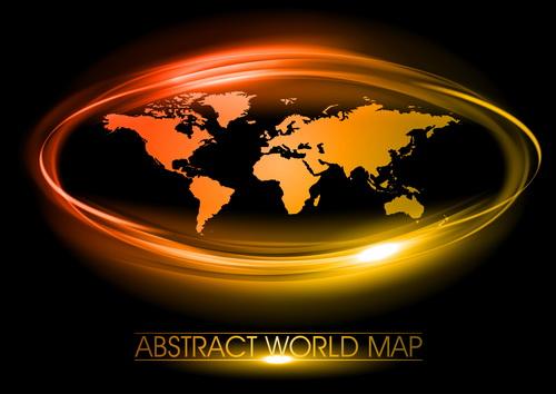 World map with golden light frame vector