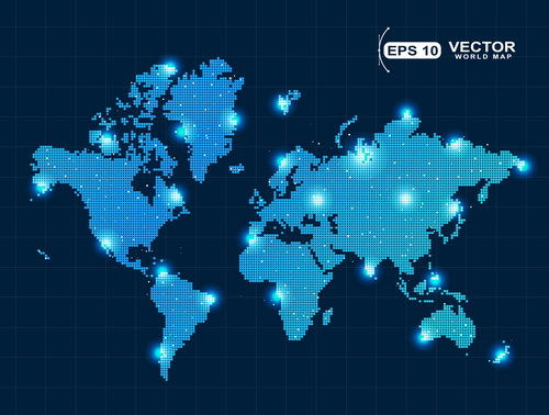 World map with light dot vector