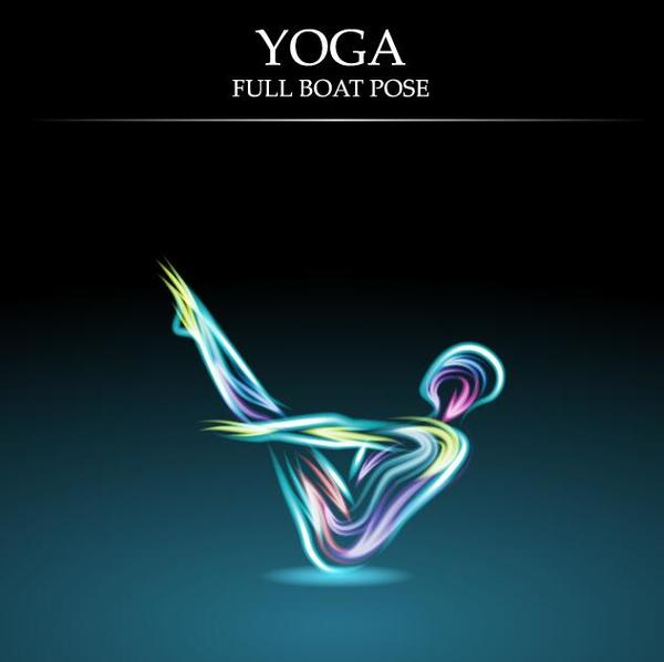 Yoga pose abstract design vector 01