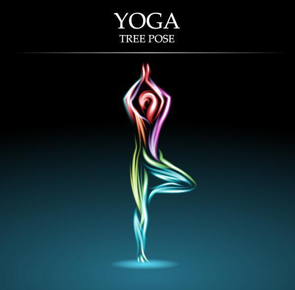 Yoga pose abstract design vector 02