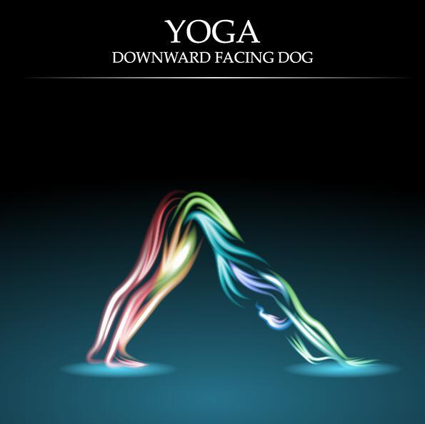 Yoga pose abstract design vector 03