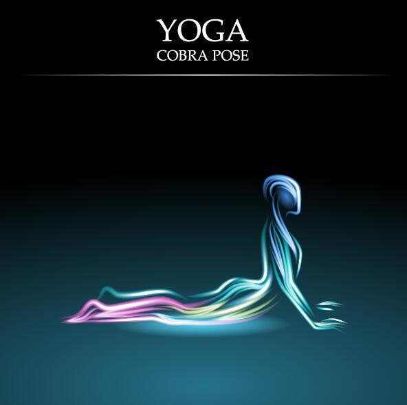 Yoga pose abstract design vector 04