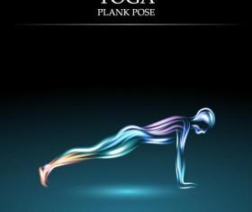 Yoga pose abstract design vector 05