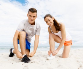 Young Lovers on the beach Stock Photo