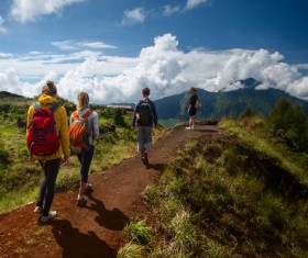 Young men and women hikers Stock Photo 02