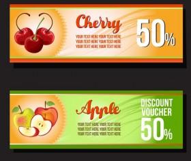 apple and cherry discount voucher vector