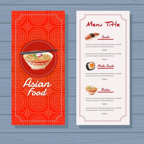 Asian Food Menu Template Blue Background Vector
