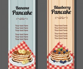 banana blueberry pancake vertical banner vector